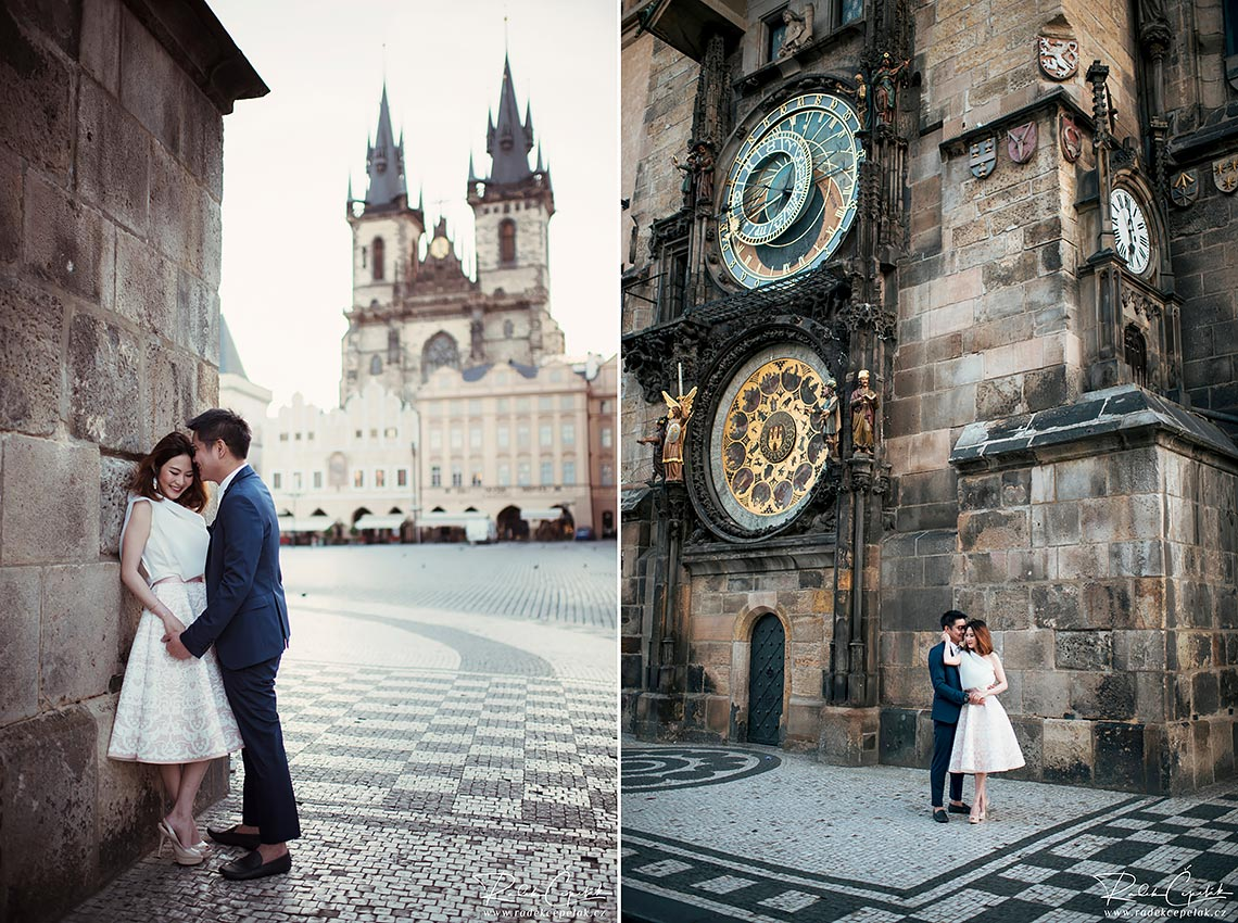 pre-wedding prague astronomical clock