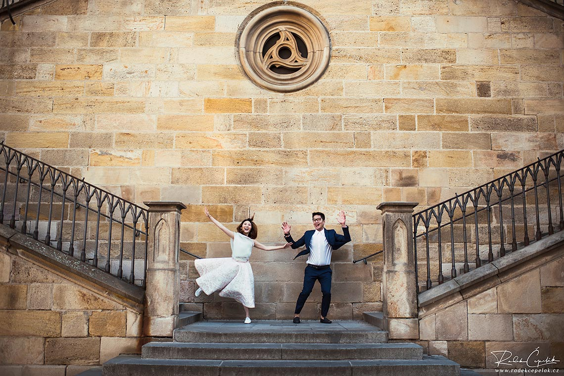 couple having fun during prewedding