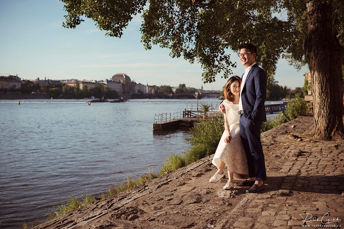 Couple photography by the river Vltava