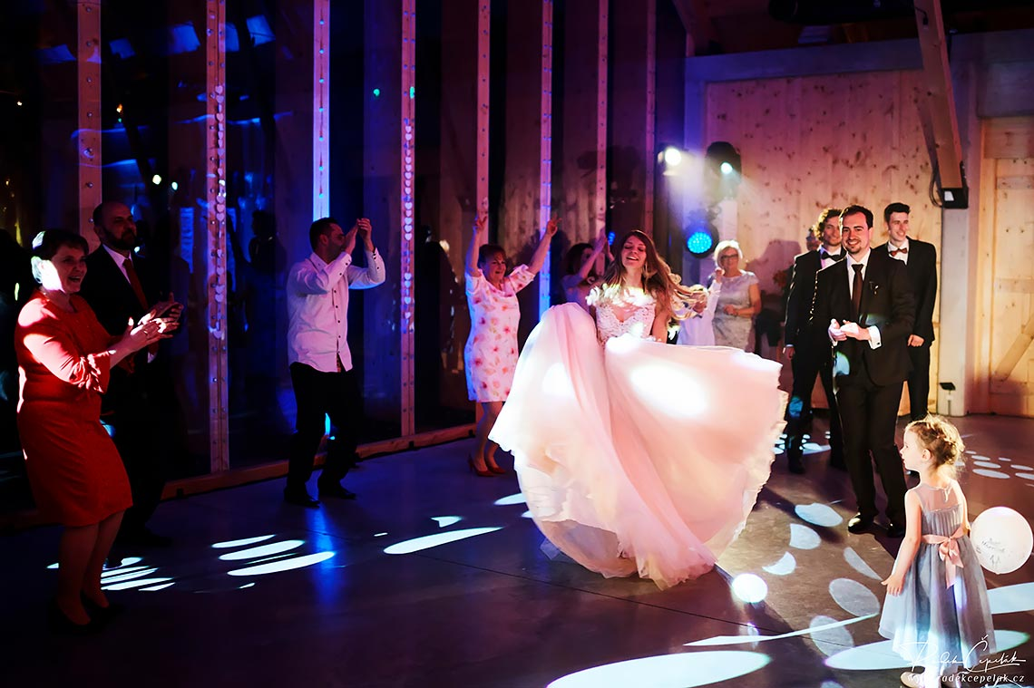 bride and groom dancing in the barn at Slovakia wedding