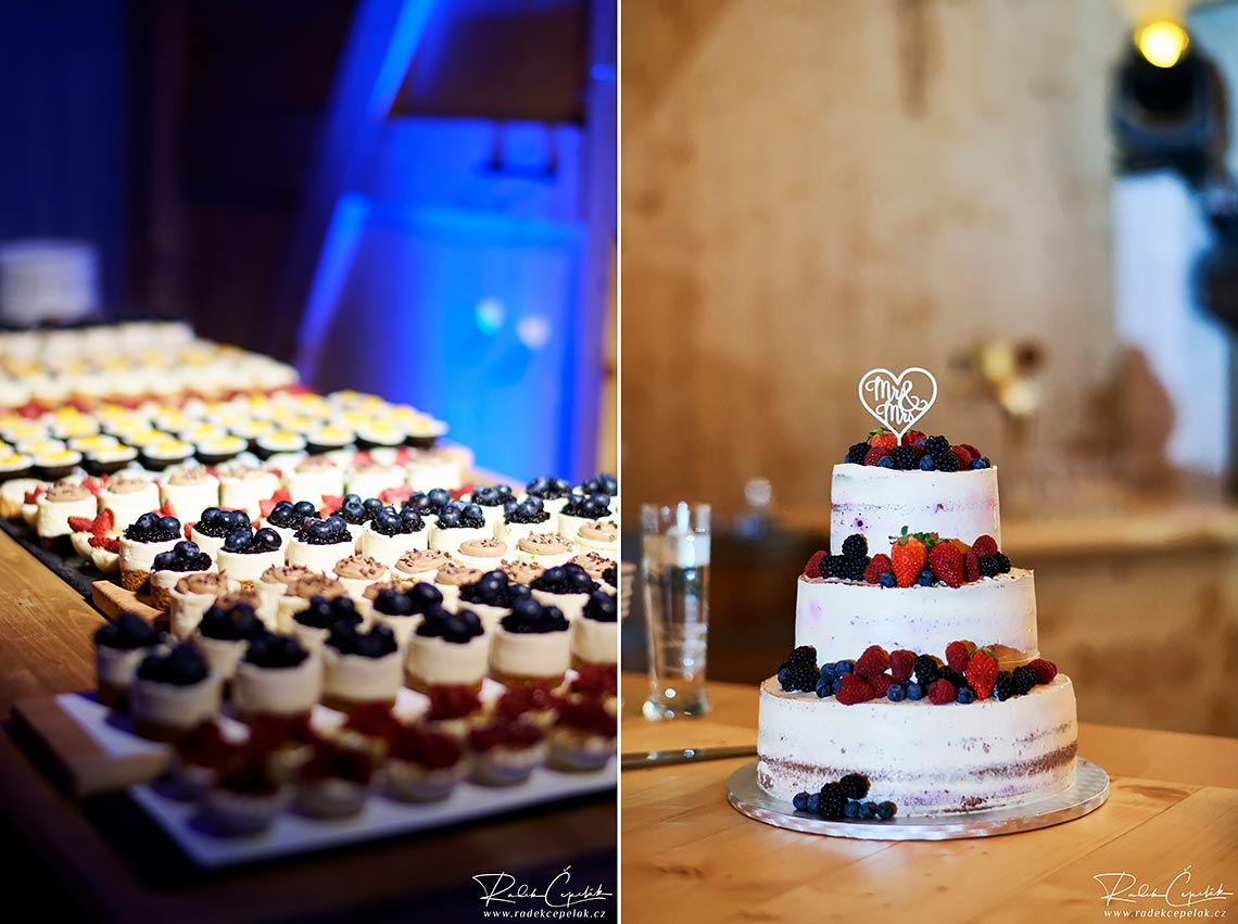 wedding cake with forest fruits