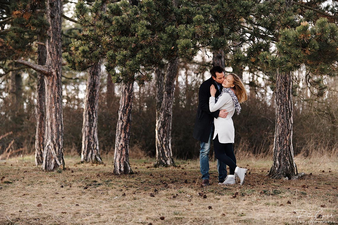 romantic engagement photography in pine tree forest