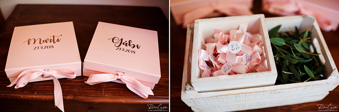 bridesmaids ping boxes gifts with names and date on the top