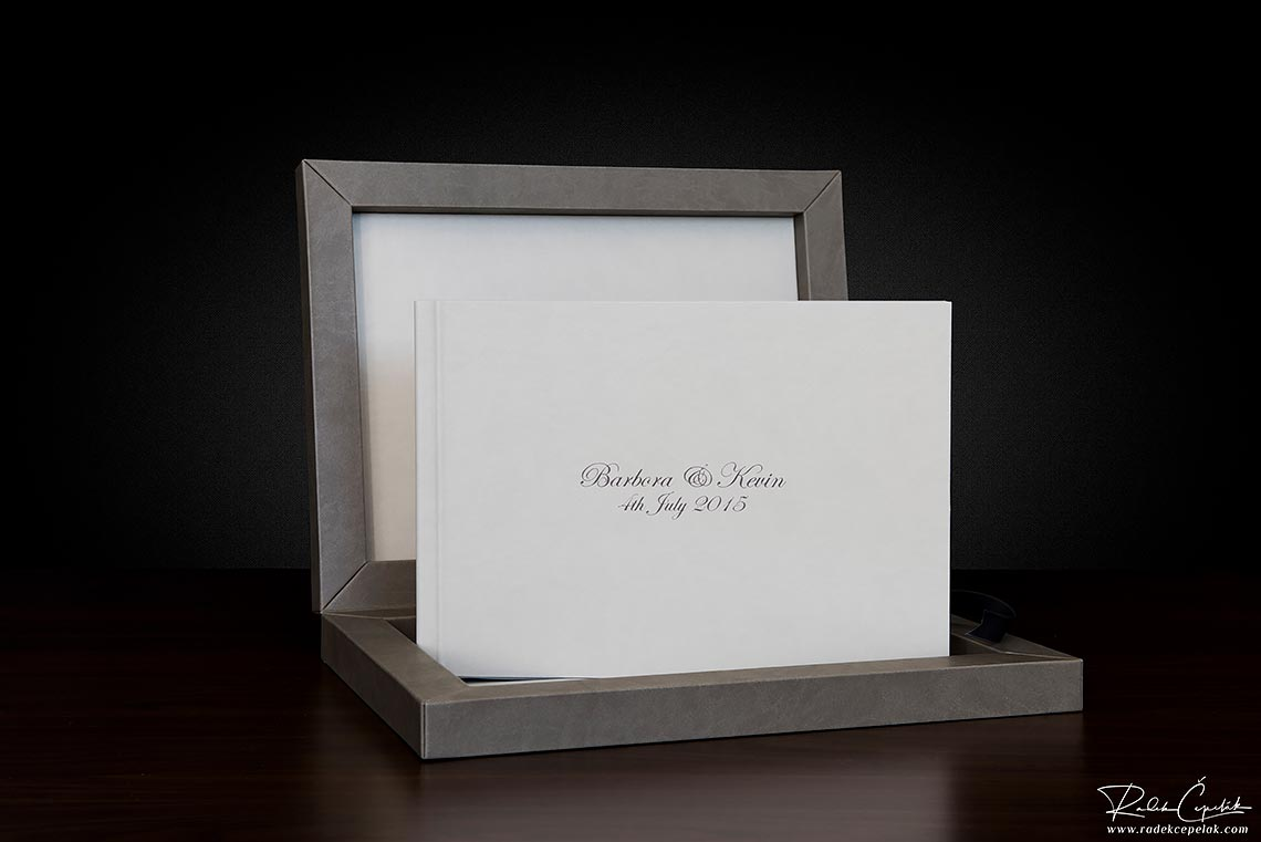 detail of white wedding album