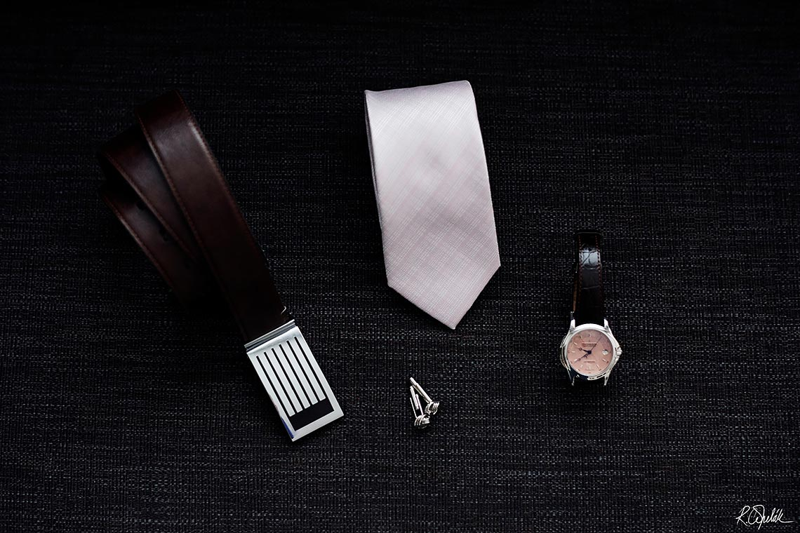 groom details belt, tie, watch, cufflinks