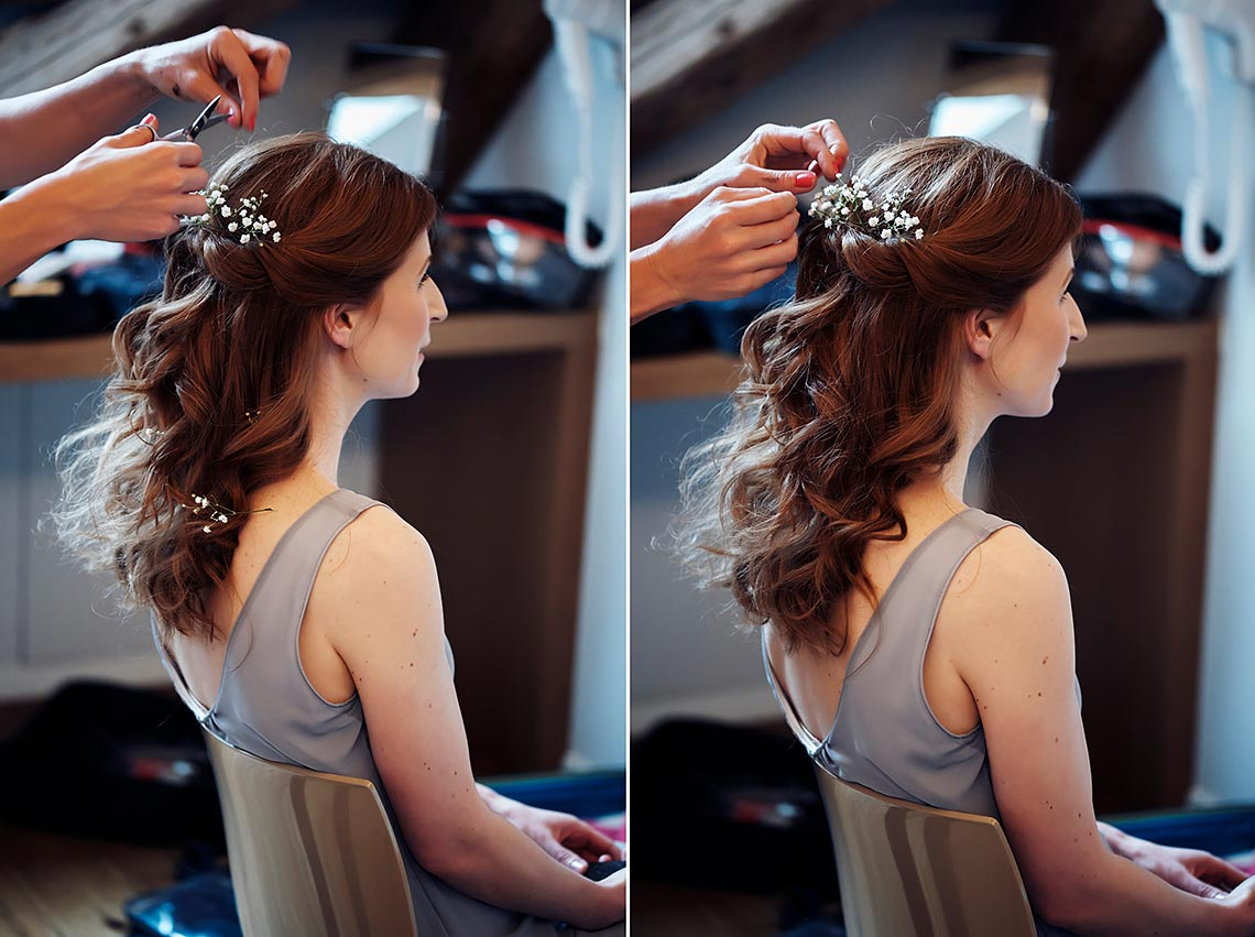 small flowers in bride hairstyle