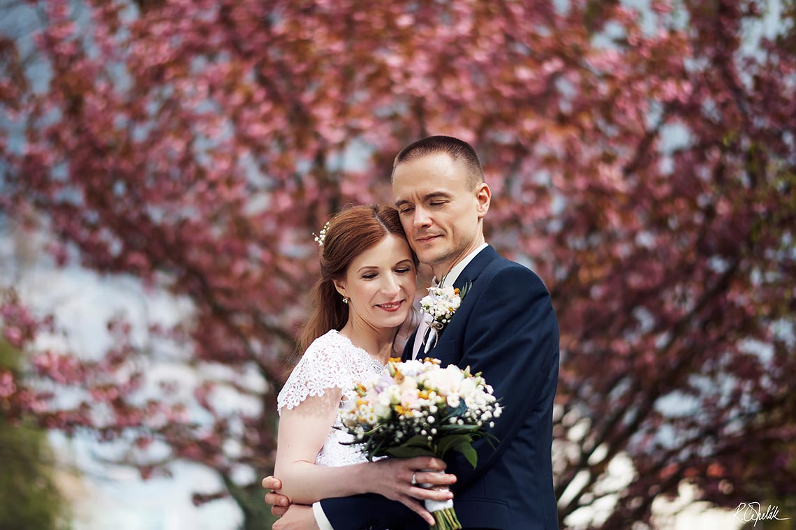 wedding photography of bride and groom with blooming cherish