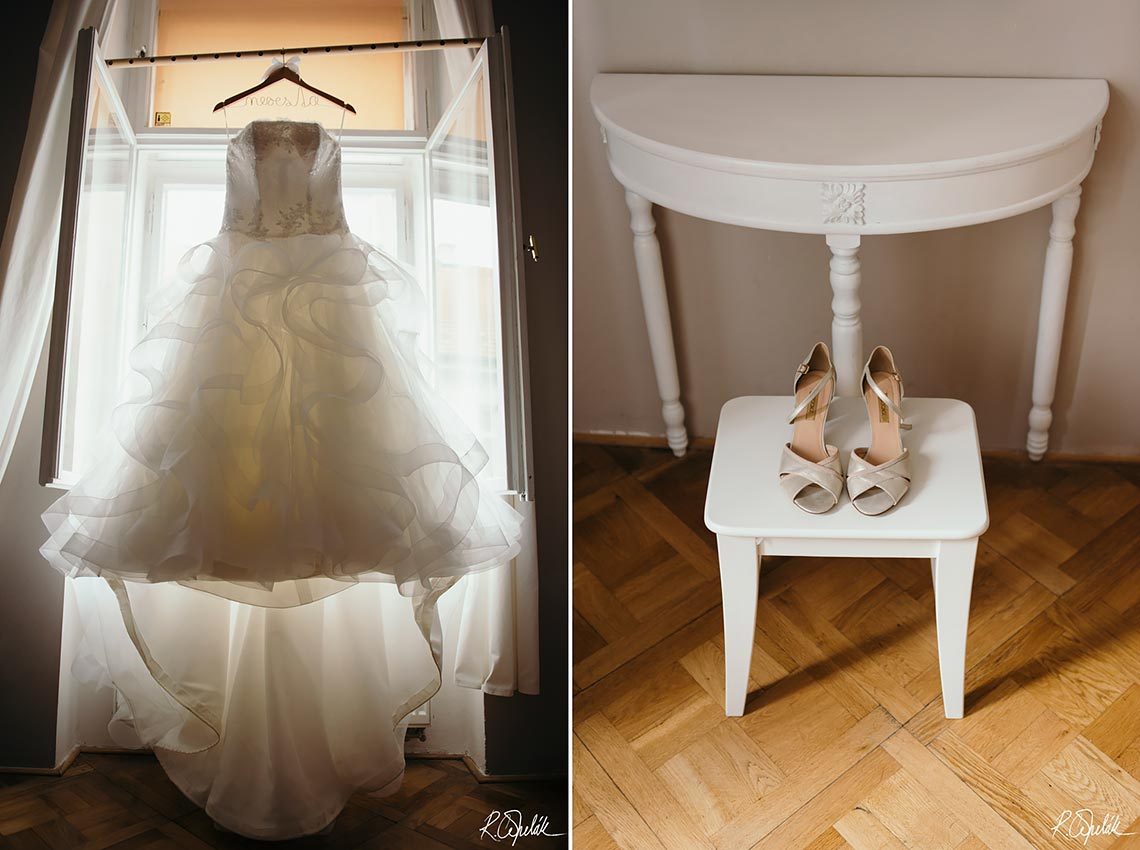 bride wedding dress and shoes