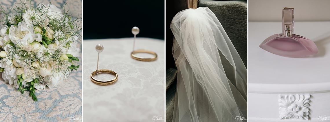 bride details photography flower, rings, veil and parfume