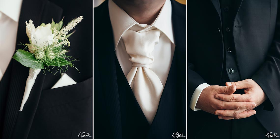 details of groom clothing