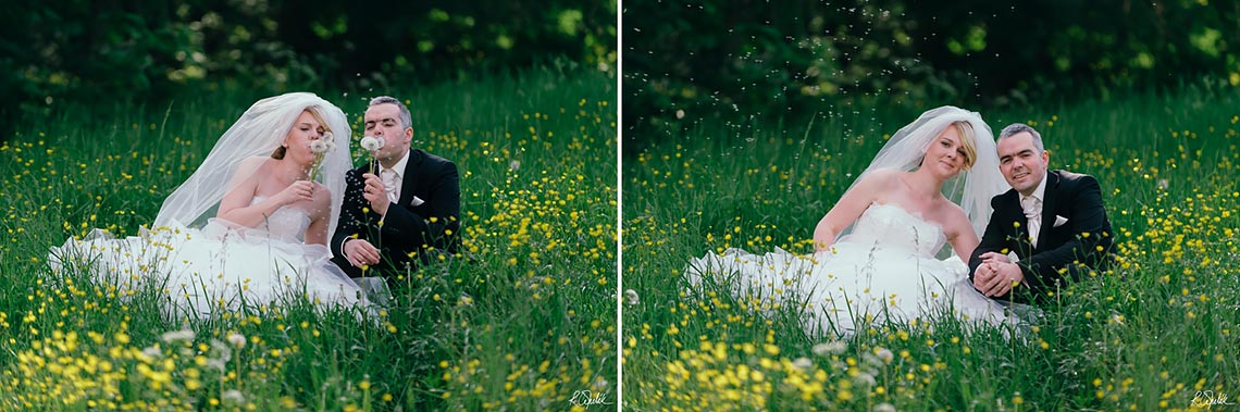 wedding photography of newlyweds on meadow at the nature in Prague