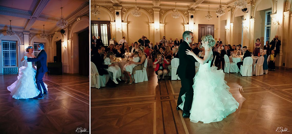 first dance of bride and groom in Zofine palace in Prague