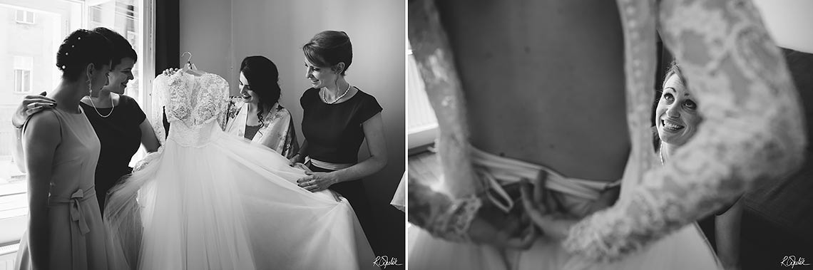 black and white wedding snapshots of bride during getting ready