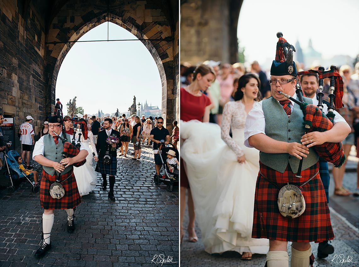 Scottish wedding in Prague with bagpiper