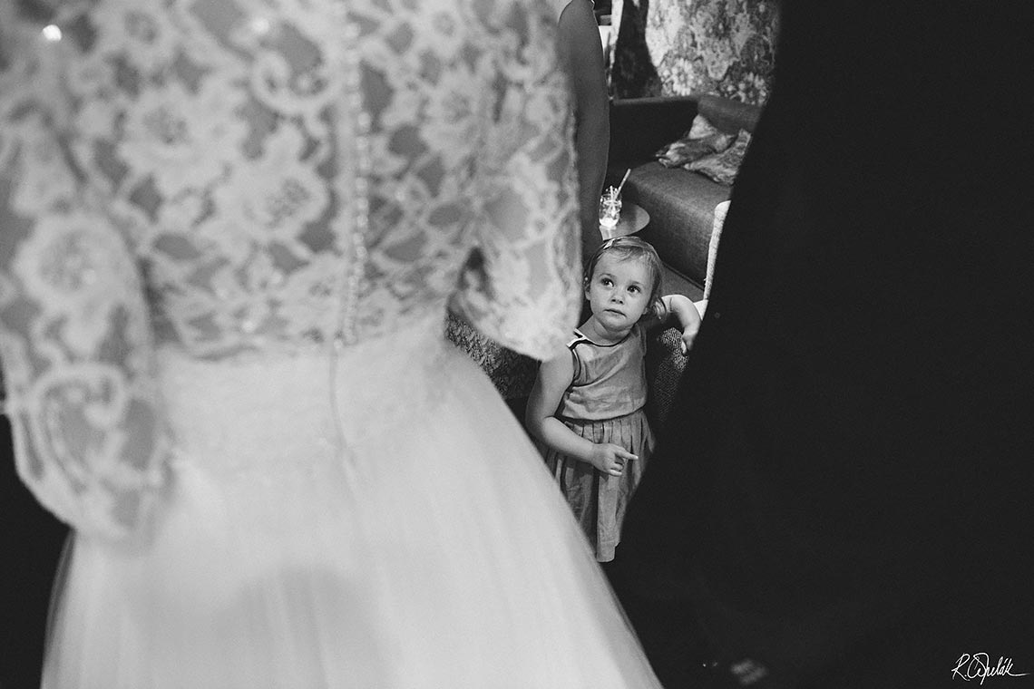 black and white wedding snapshot of small guest