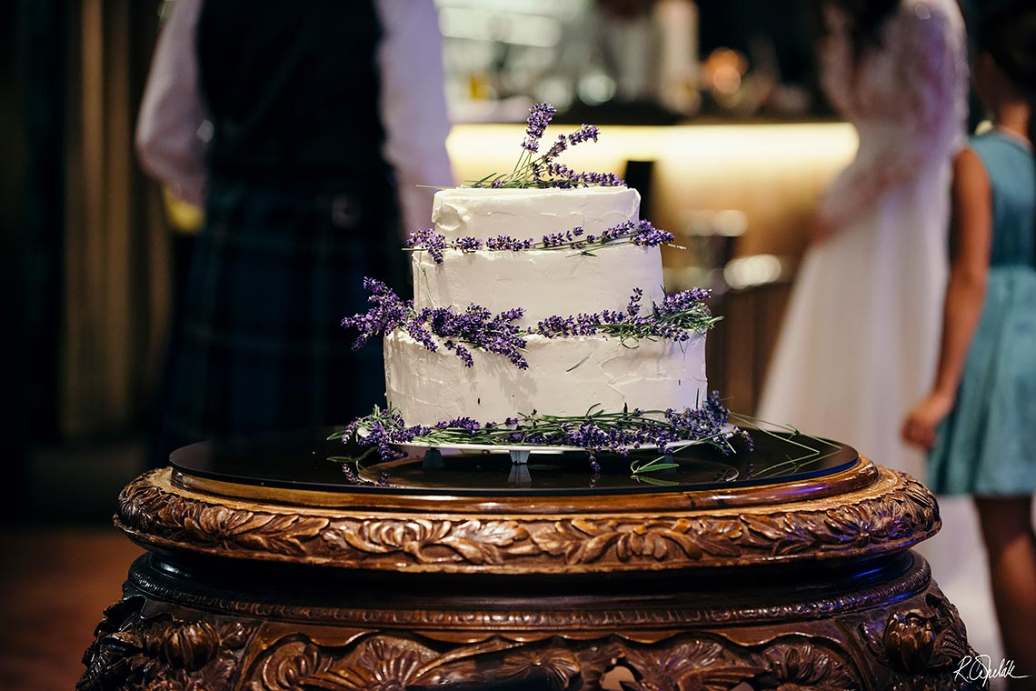 three tier wedding cake with levanders