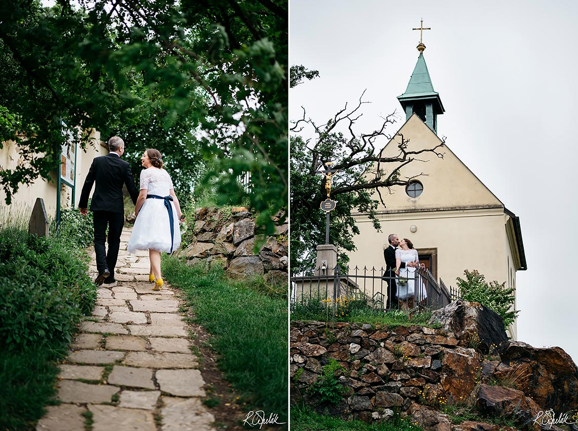 wedding photography of bride and groom with small church
