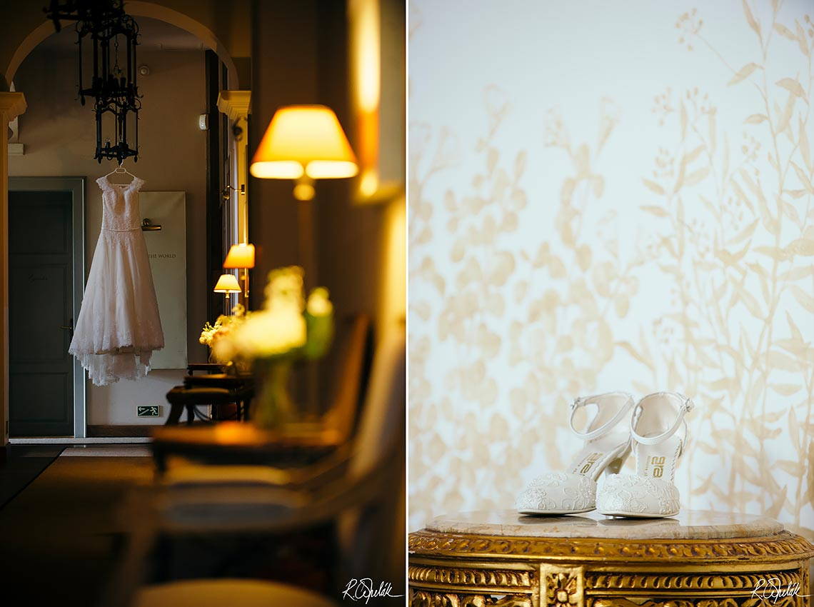 getting ready wedding photography details of bride, shoes and dress