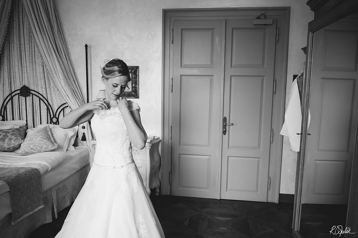 black and white wedding photography of bride during getting ready