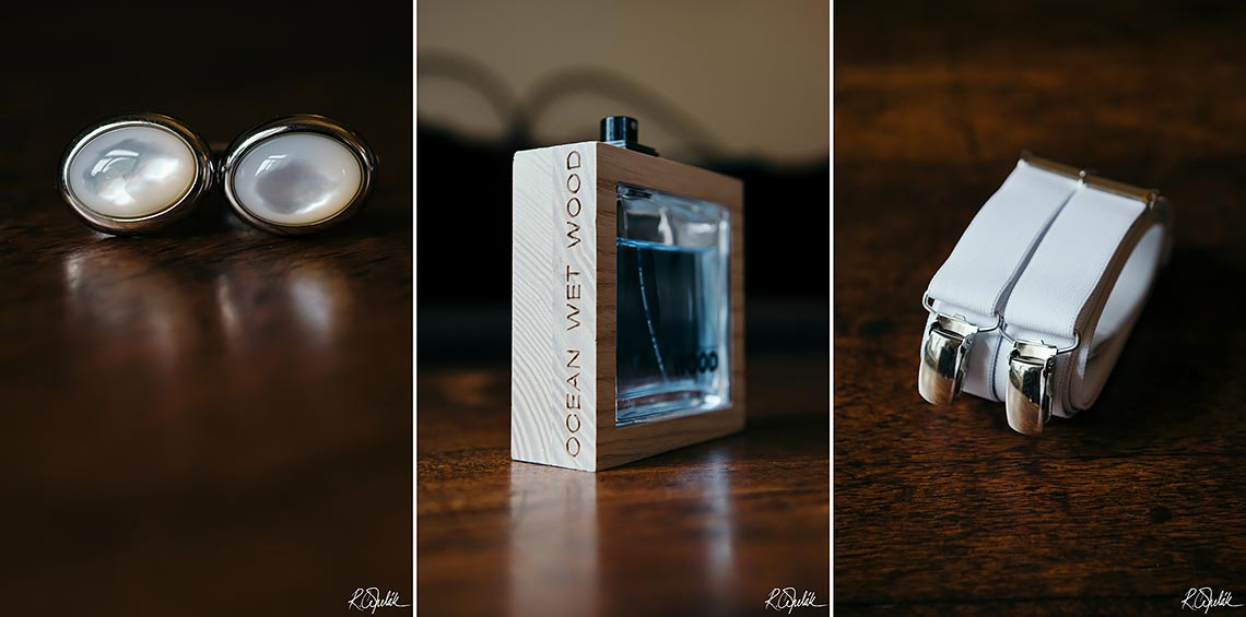 wedding groom's details photos of cuff links, parfume and braces