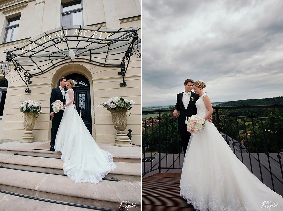 wedding potography of bride and groom at Chateau Mcely in Czech republic