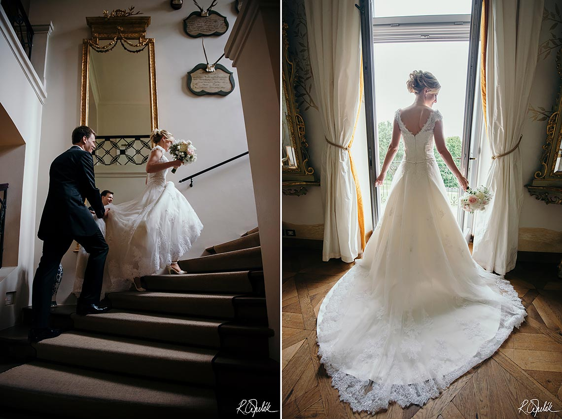 wedding potography of bride and groom inside of hotel Chateau Mcely in Czech republic