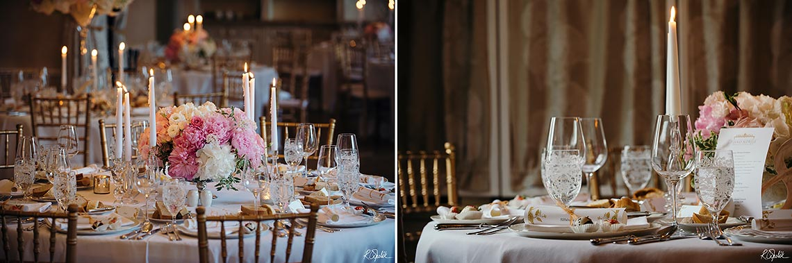 details of tables at wedding reception in hotel Chateau Mcely