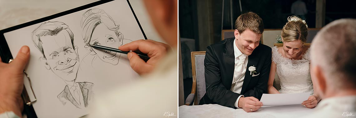 caricaturist draw bride and groom portrait at wedding