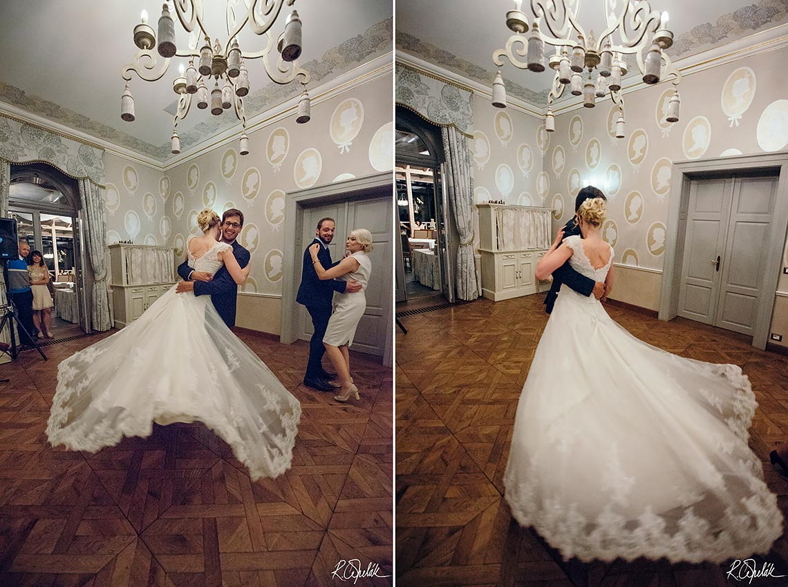 bride dancing with guest at wedding