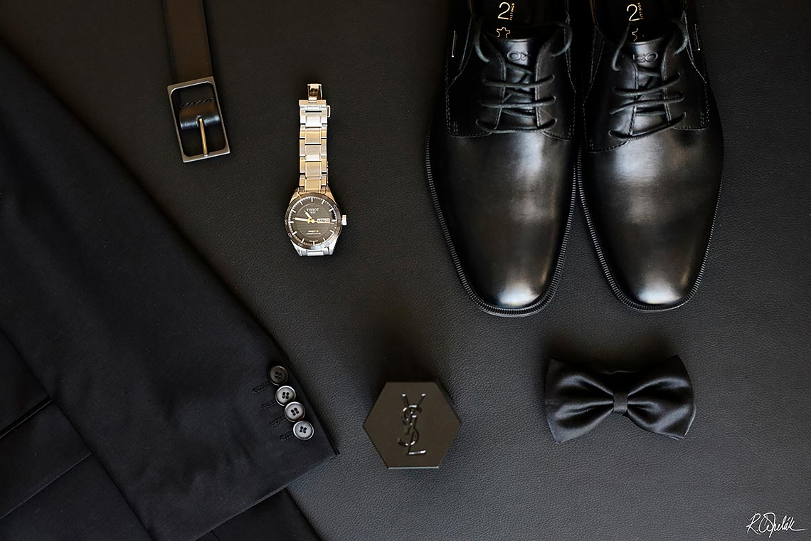 wedding groom details photo of shoes, belt, watch, bow tie