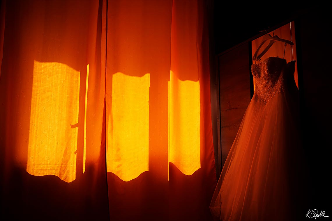 wedding dress orange curtains photo