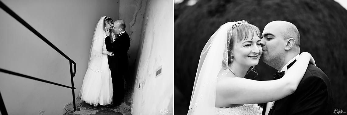black and white photos of bride and groom on stairs