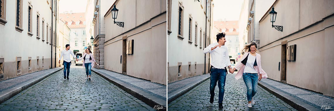 couple having fun during prewedding photography