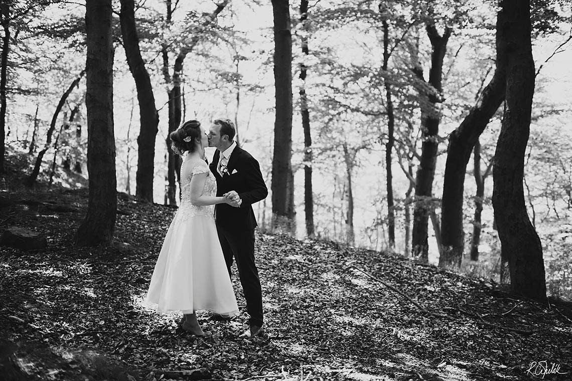Black and white wedding photography in forest