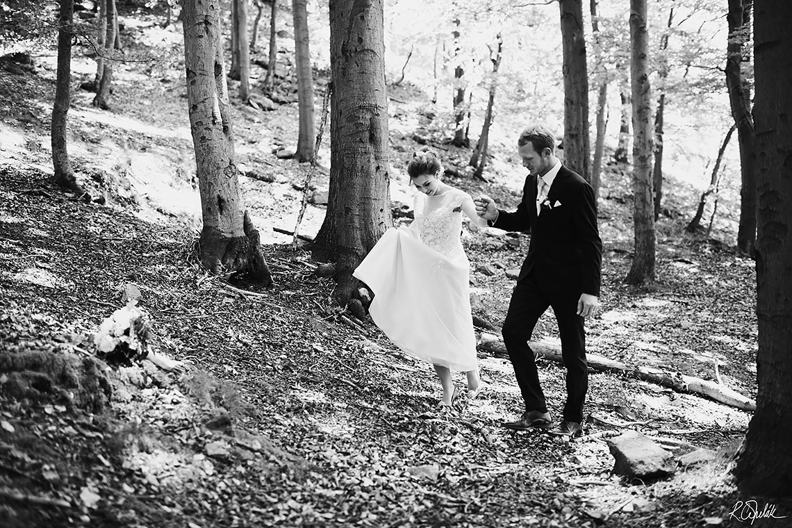 bride and groom at forest