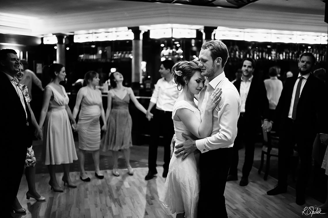 bride and groom dancing at wedding party