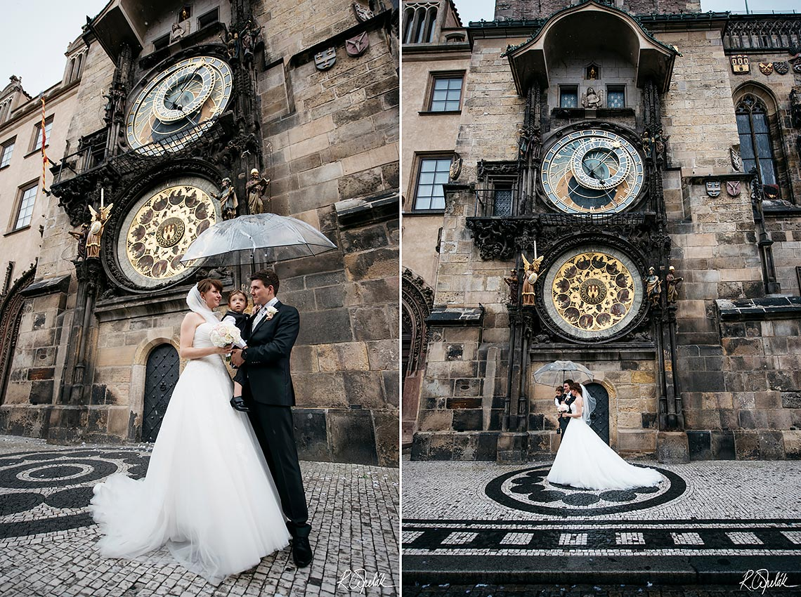 wedding photography in Prague, couple leaving the ceremony with confetti