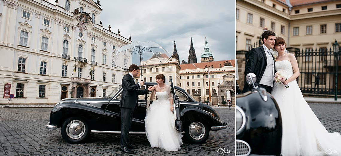 wedding photography in Prague with Charles bridge on background
