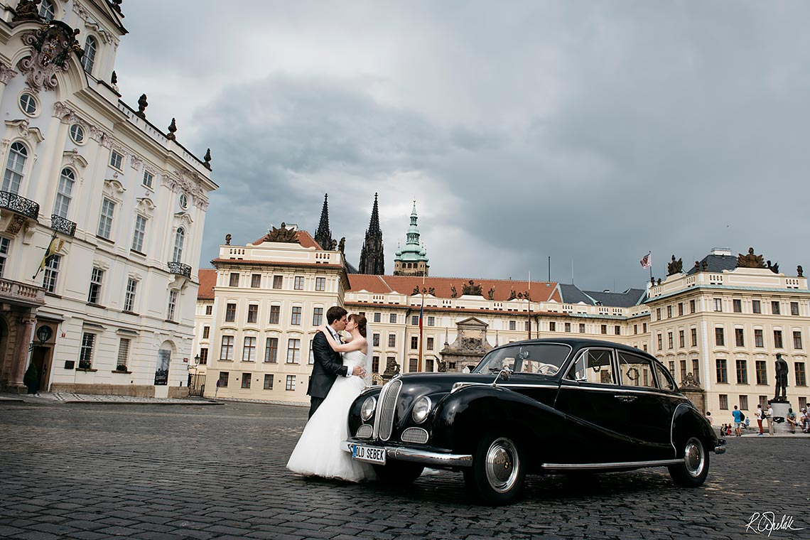 wedding photography in Prague with black vintage car BMW 501