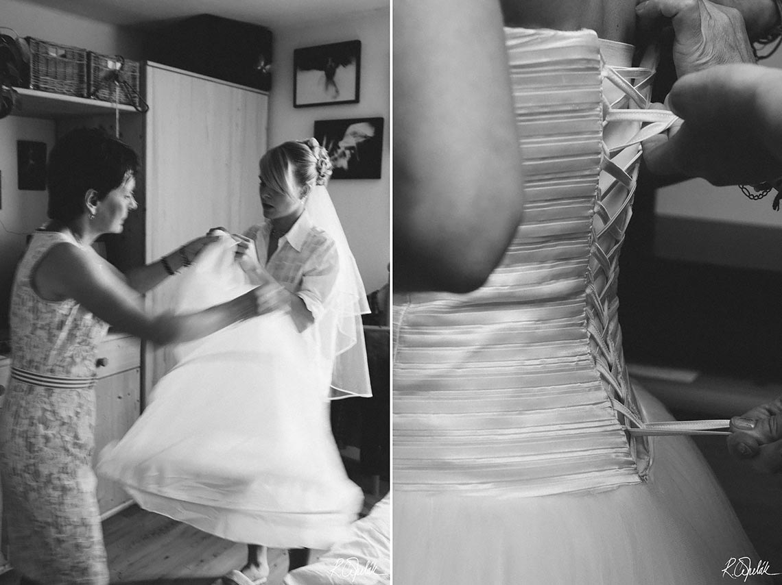 getting ready of bride black and white images