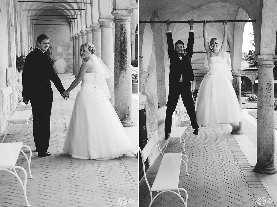 black and white newlyweds photo