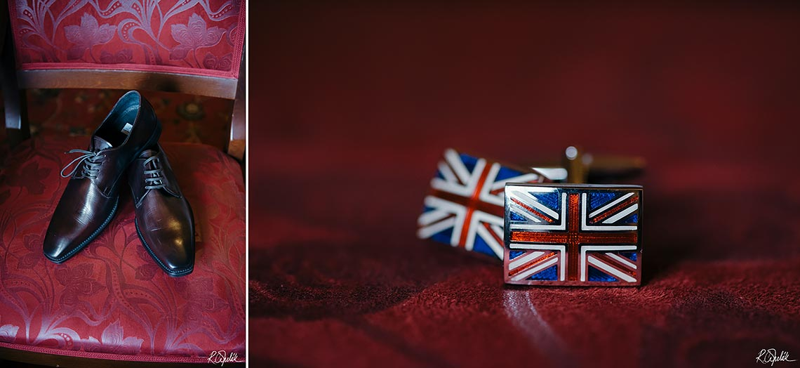 wedding photos of groom details - shoes and cufflinks with British flag