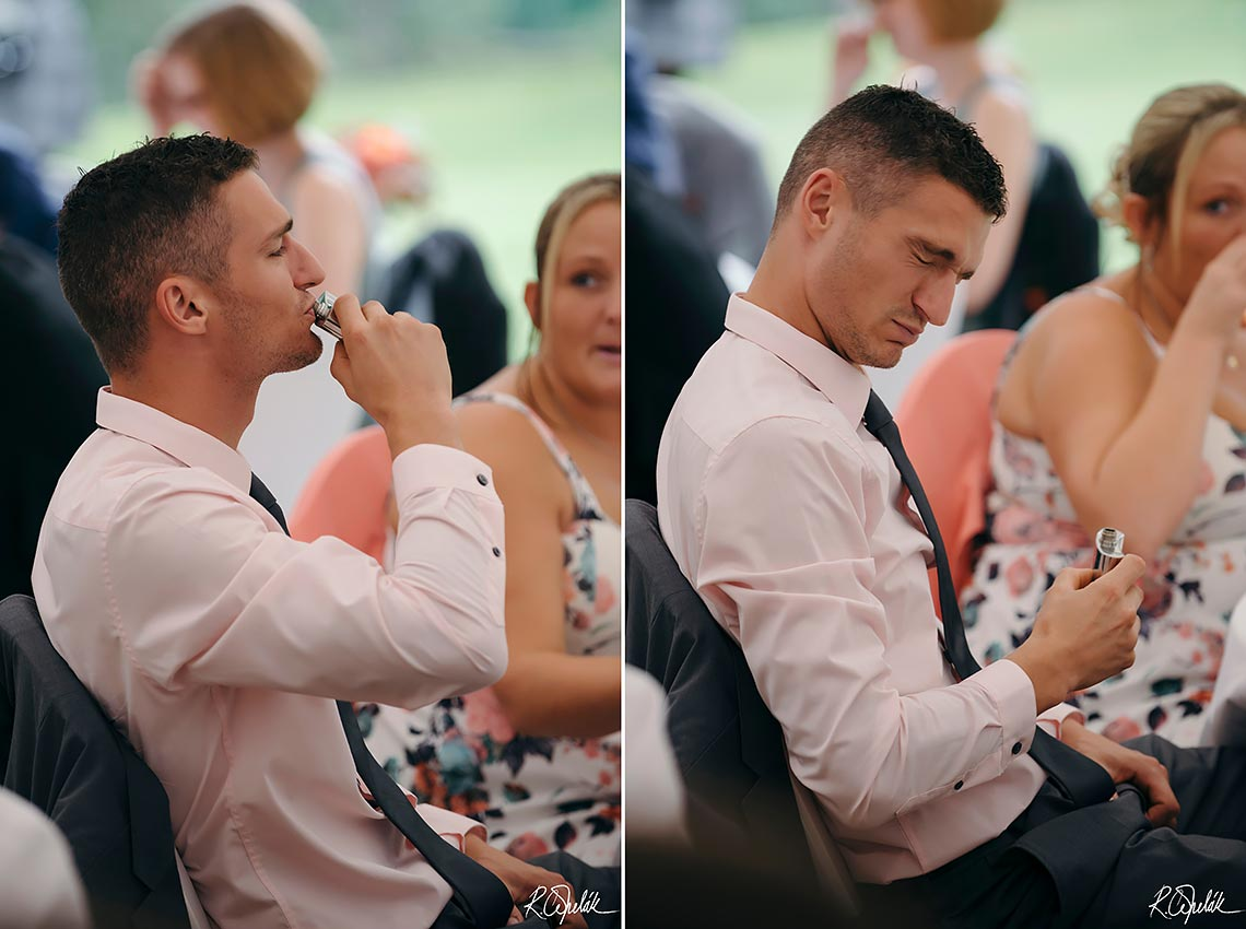funny photo of guest at wedding