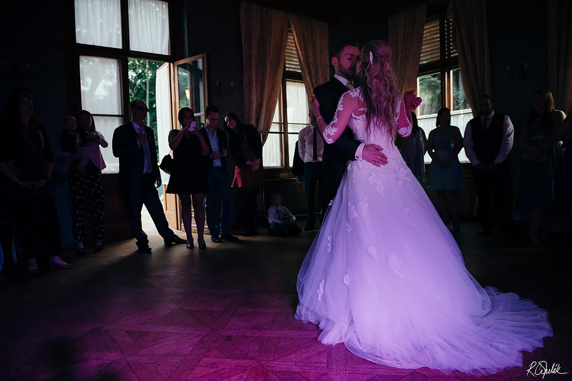 bride and groom first dance at Chateau St. Havel in Prague