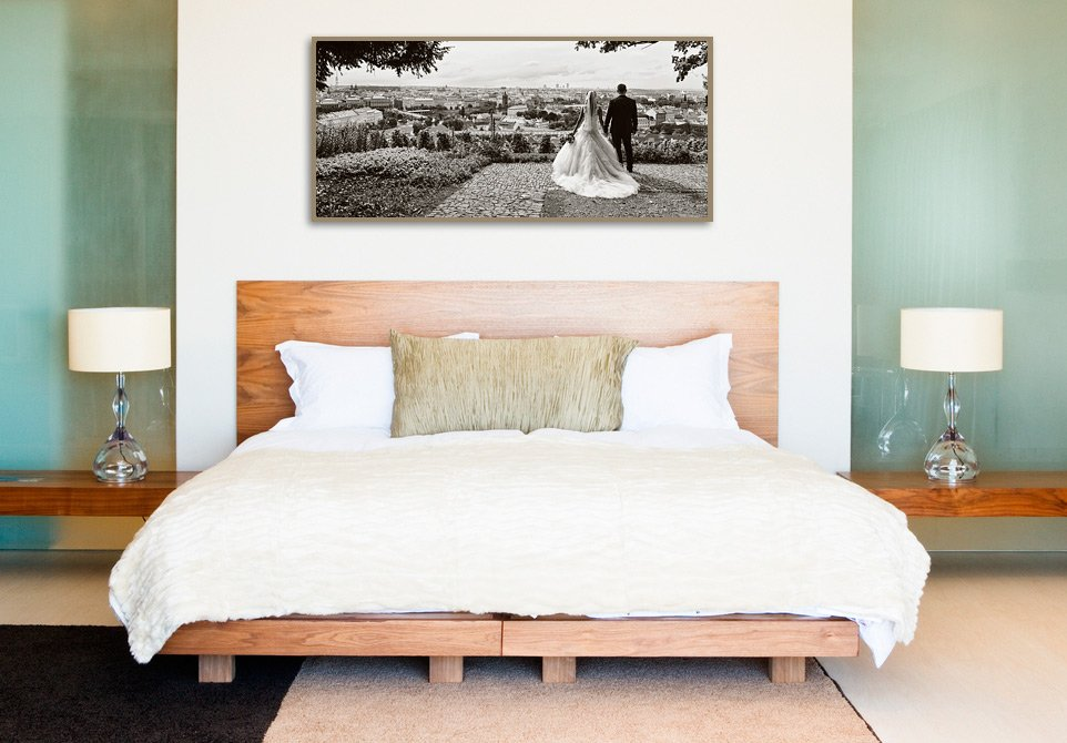 interior photography with wedding photo on wall print